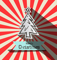 Retro Christmas Card witt Paper Cut Tree vector image