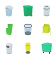 Rubbish bin icons set cartoon style