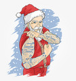 santa claus tattoo vector image