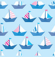 seamless pattern with colorful paper ships sea vector image