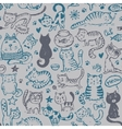 seamless pattern with hand draw funny cats vector image vector image