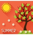Seasonal with summer tree in flat vector image vector image