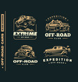 set of four off-road suv car labels vector image vector image