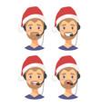 set of male emoji customer support phone operator vector image