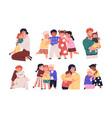 set warm hugs between kids parents and little vector image vector image