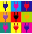 Socket sign Pop-art style icons set vector image