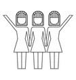 three women holding hands teamwork successful vector image