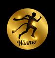 winner icon black shiny running athlete vector image vector image