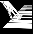 women s hands on the piano vector image vector image