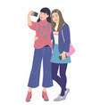 young women taking selfie photo on smartphone vector image