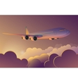 Airplane flying in the sky at sunrise Airplane vector image