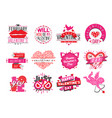 14 february valentine day love badges vector image vector image