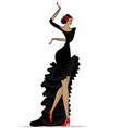 abstract flamenco woman in black vector image vector image