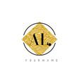 al letter logo with golden foil texture vector image