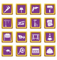 architecture icons set purple vector image