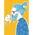 art of hipster making vape cloud with e vector image vector image