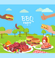 bbq party colorful poster with cute summer park vector image