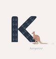 blue letter k with kangaroos vector image