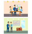 business meeting and working order at company vector image vector image