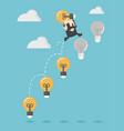businessman up the ladder light bulb vector image vector image