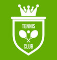 coat of arms of tennis club icon green vector image