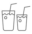 cocktail glasses thin line icon two beverages vector image vector image