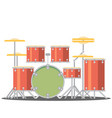 color flat style drum set on white background vector image vector image