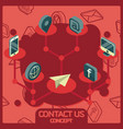 contact us color concept isometric icons vector image vector image