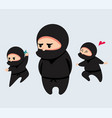 cute cartoon ninja set vector image