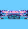 fantasy nocturnal landscape vector image