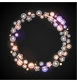 glowing lamp lights wreath for xmas holiday vector image vector image