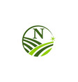 green project solution center initial n vector image vector image