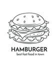 hand drawn hamburger icon vector image vector image