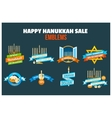 Happy Hanukkah Sale Emblem Set vector image vector image