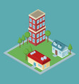 isometric residences buildings vector image vector image