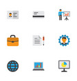 job icons flat style set with briefcase world vector image vector image