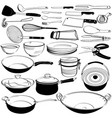 kitchen tool utensil equipment doodle drawing vector image vector image