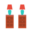 lamp with red shade standing on night table set vector image