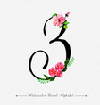 letter z watercolor floral background vector image vector image