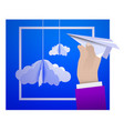 male hand holding a paper plane against the sky vector image