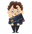 man with debit card on white background vector image vector image