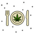 marijuana leaf on plate with knife and fork vector image vector image