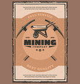mining company retro poster with miner work tool vector image