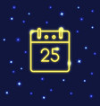 neon christmas calendar icon in line style vector image vector image