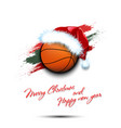 new year and basketball ball in santa hat vector image vector image
