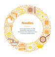 noodle thin line banner card circle vector image vector image