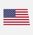 north dakota map on american flag vector image vector image