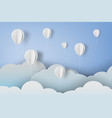 paper art of white ballons on blue sky background vector image vector image