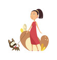 pregnant woman in red dress walking with dog vector image vector image