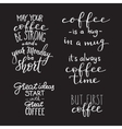 Quote coffee typography set vector image
